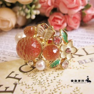 gold plated butterfly flower pearl candy ring S-0007