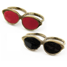 Wholesale 2Pcs Retro Bronze Enamel Glass Spectacle Double Finger Ring #6.5 #7.5