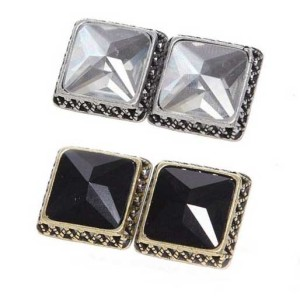 Wholesale 2 Pairs Clear&Black Faux Crystal Ear Stud Earring E-1598