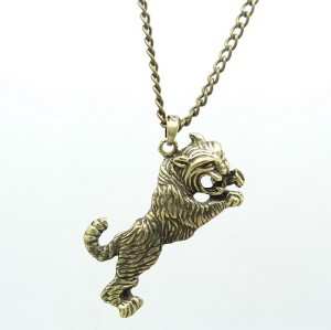 Vintage Style bronze alloy tiger pendant necklace N-3257