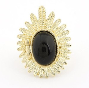 Gold Plated Olive Leaf black Gem  ring R-0648
