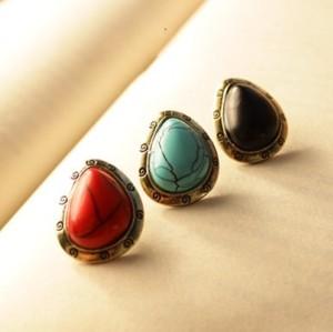 Vintage Style 3 Colors red blue black opal gem ear stud E-1672