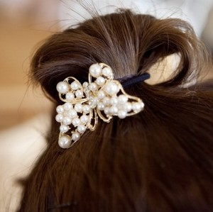 Gold Plated Pearl Rhinestone Butterfly Hair Holder F-0036