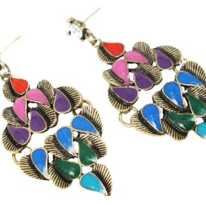 Pair Vintage Style Bronze Colorful Glazed Peacock Ear Stud Earring E-0637