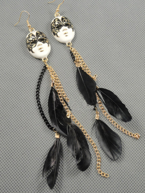 New Style Butterfly mark Black feather dangle earring