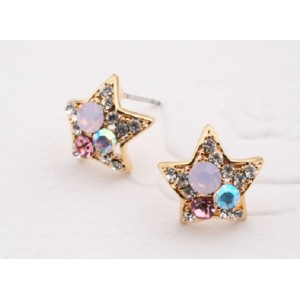 Charming Gold Plated Colorful Rhinestone Star Ear Stud E-1581