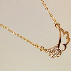 rhinestone gold plated pure copper angle wing pendant necklace ear stud set E-1064