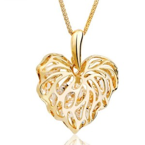 Rose gold plated clear crystal leaf hollow out heart necklace N-4838
