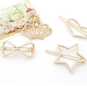 Gold Plated  Pearl  bowknot crown Star Hair Clip F-0079