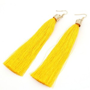 silk yarn long tassel ear stud E-1682