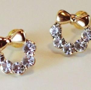 Charming gold plated rhinestone cute bowknot ear stud E-1554