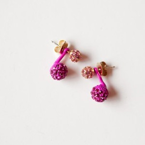 Charming double rhinestone ball ear stud E-0222