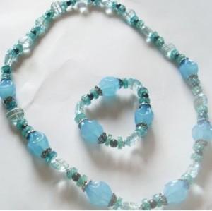 Fashion Beads Amber Necklace Bracelet Jewelry Set Free Shipping N-0149