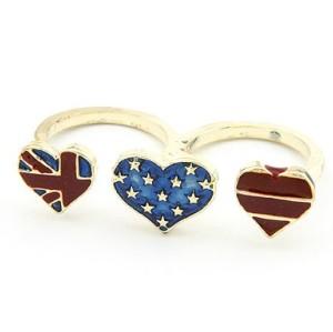 Korean Style gold plated flag love heart double finger ring R-0657