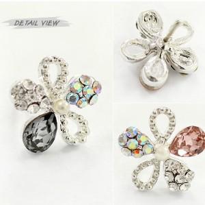 Charming Silver Plated Rhinestone crystal cute flower ear stud E-0228