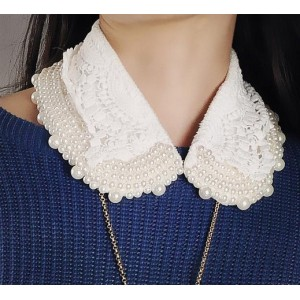 white flannelette lace pearl collar N-2079
