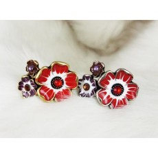 wholesale 2 pieces colorful glazed rhinestone cute flower ring adjustable R-0570