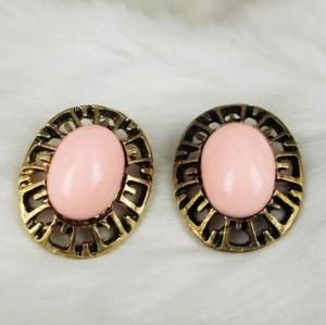 Wholesale 2 pieces Vintage style bronze alloy hollow faux pink/blue gemstone ear stud E-0032