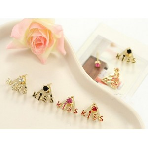 gold plated rhinestone glazed kiss ear stud E-0504