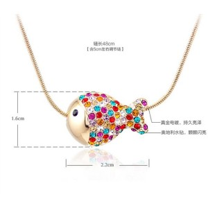 gold plated colorful fish pendant necklace N-4024