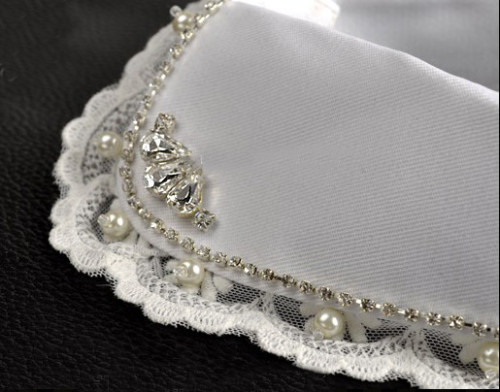 white rhinestone crystal pearl lace flower collar N-2064