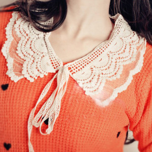 Korean Style double deck lace voile hollow out collar necklace N-2038