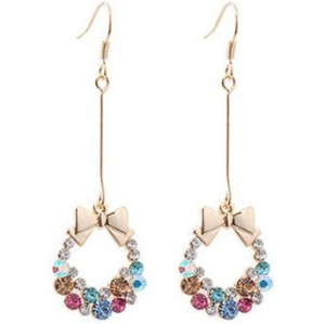 Charming Gold Plated colorful Rhinestone bowknot bag ear stud E-1553