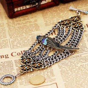 western style retro gun black  multilayer chain parrot bracelet B-0105