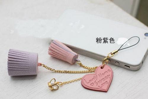 Korean Style gold plated chain love heart crown zircon flower pendant mobile key holder W-0002