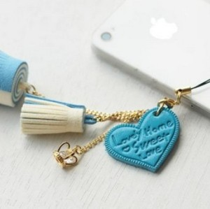 Korean Style gold plated chain love heart crown zircon flower pendant mobile key holder W-0002