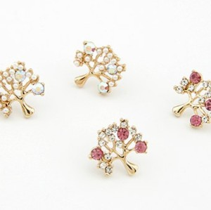 charming gold plated rhinestone pearl cute tree ear stud E-0119