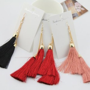fashion double Silk Yarn Long Tassel Ear Stud earrings E-1681