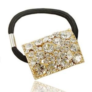 Gold Plated Rhinestone Crystal Hair Holder F-0091