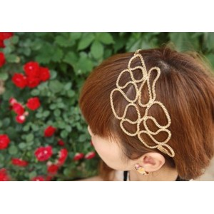 gold plated chain hollow out flower hair band adjustable F-0003