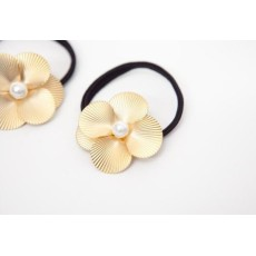 gold plated alloy petals pearl flower hairband F-0038