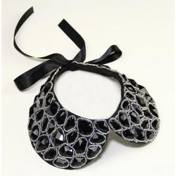 fashion black cotton velvet clear beads faux gem collar silk chain necklace N-2032
