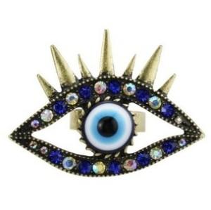 Punk style Vintage Bronze Alloy Colorful Rhinestone Eyelashes Eye Revit Ring Adjustable R-0196