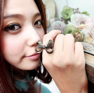 Retro Style Simple Noble Lovely Big Bowknot Ring Adjustable R-0126