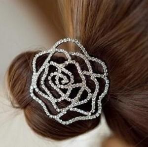 Charming Clear Rhinestone Rose Flower Hair Holder F-0054