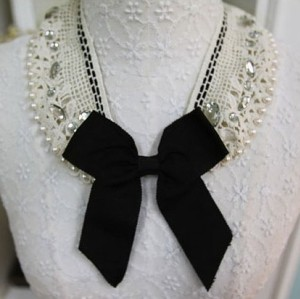 Lace pearl crystal black bowknot collar necklace N-2035