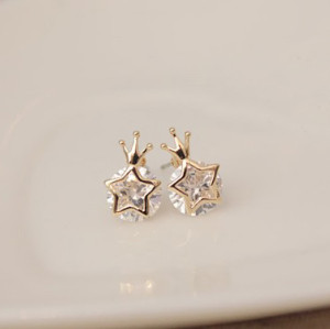 gold plated copper crown star Clear true zircon ear stud E-1575