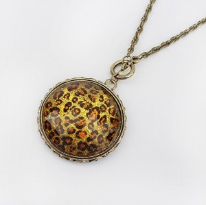Retro Style Leather Chain Bronze Alloy Round & Square Leopard Long Necklace N-0799