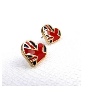 Gold Plated Glazed UK Flag Heart Ear Stud E-1044