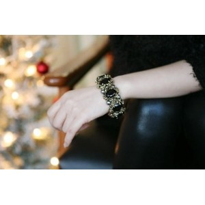 2Colors Vintage Silver/Bronze Pearl Rhinestone Crystal Gem Bracelet B-0059