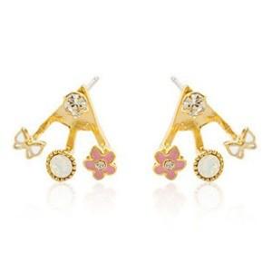 2Color Optional Gold Colorful Rhinestone Love Glazed Flower Ear Stud Earrings E-0502