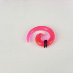 Pink Acrylic Spiral Taper Horn Snail Stretcher expander Piercing I-0009