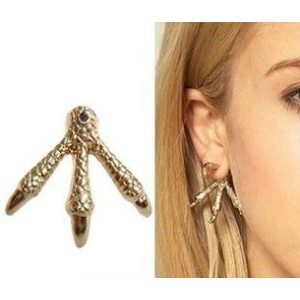 New Gothic Punk silver/bronze/gold plated Eagle Claw ear stud E-1138