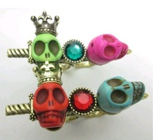 Retro Style Red & Blue Gem Crown Skull Necklace Ring Set S-0008