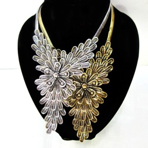 Retro Style Vintage SIlver/Gold Alloy Multilayer Flower Choker Necklace N-0025