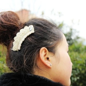 Charming Noble Lace Pearl Crystal Hair Clip F-0057